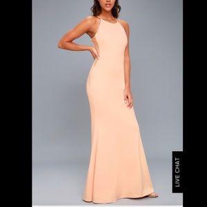 Lulu's blush maxi formal gown mermaid dress